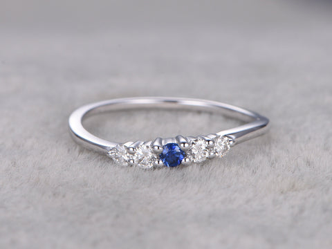 Natural Sapphire and Diamond Wedding Ring,Curve design,Solid 14K White gold,Anniversary Ring,Art deco,stacking ring,Thin design matching