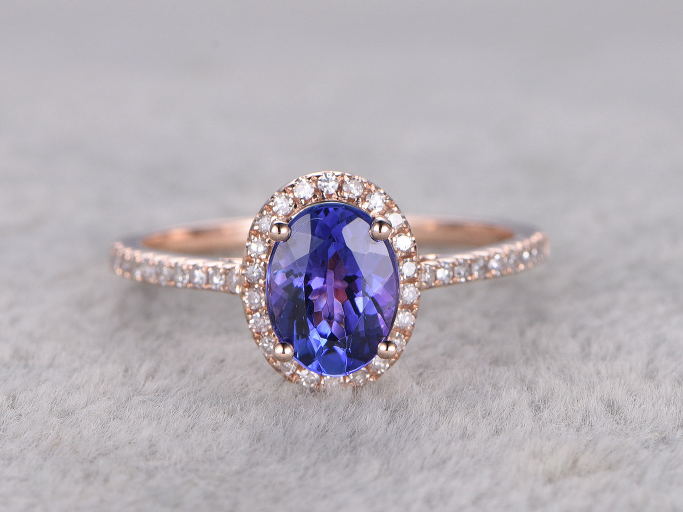 6x8mm Oval Cut Tanzanite Engagement ring,Diamond Promise Ring,14K Rose Gold,Bridal Ring,wedding band,Blue Gem Stone ring,Ball Prong set