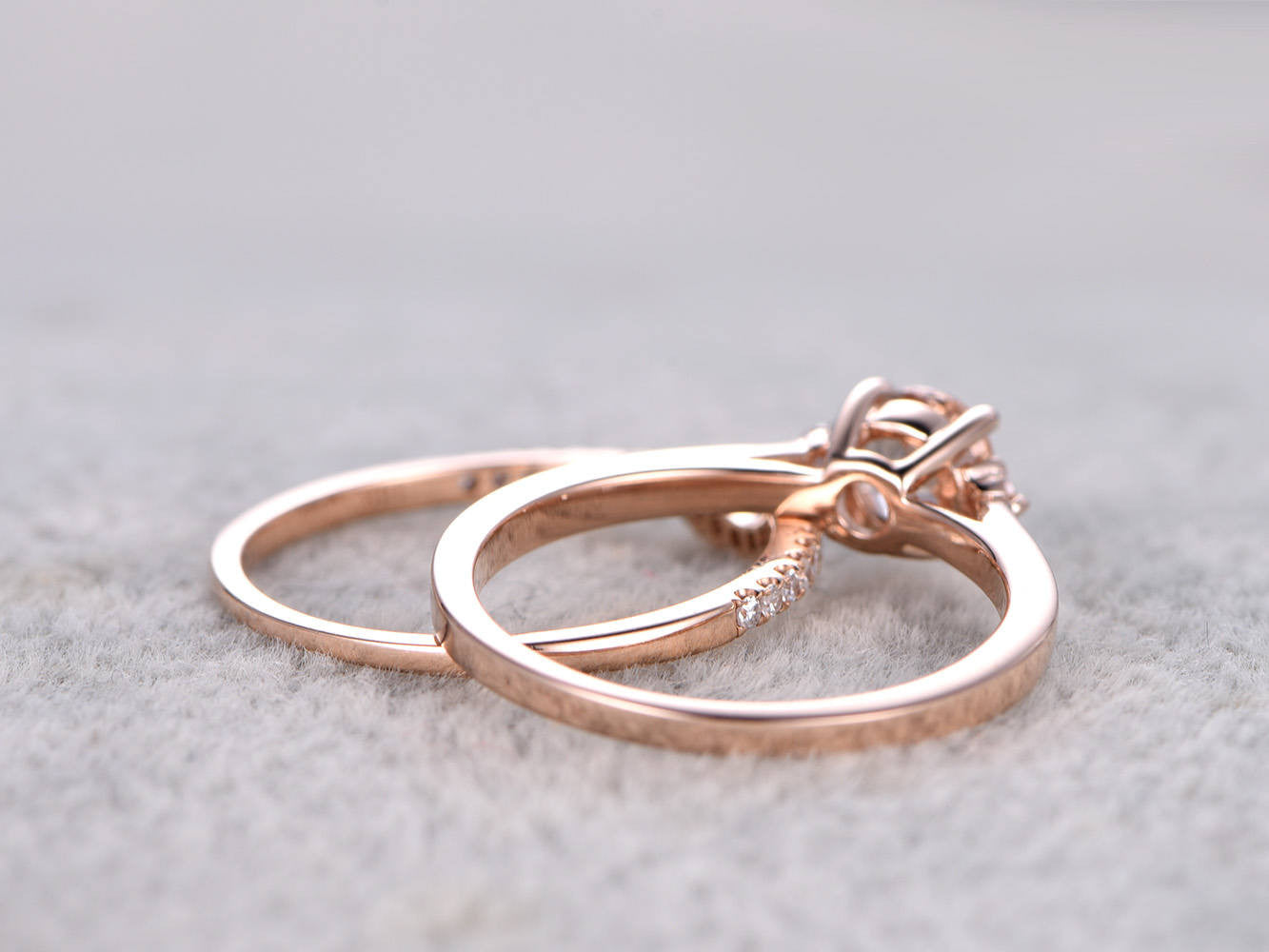 2 Morganite Bridal Set,Engagement ring Rose gold,3 stone,Diamond wedding band,14k,5mm Round Cut,Gemstone Promise Ring,Curve matching band