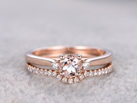 2PCS Morganite Bridal Set,3 stone Engagement ring Rose gold,Diamond Curve matching band
