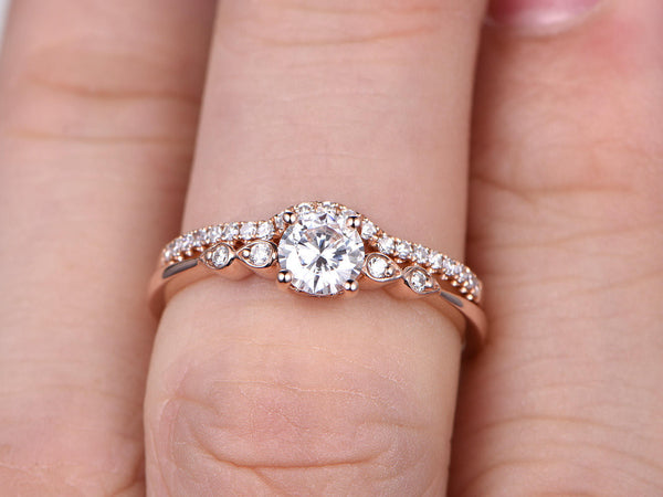 2pcs Moissanite Bridal Set,Engagement ring Rose gold,Curve Diamond wedding band,5mm Round stone Promise Ring,Art Deco Inifinity ring