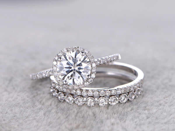 3pc brilliant Moissanite Engagement ring set,14k White gold,7mm Cushion,Diamond wedding band,Promise Bridal Ring,Halo,Anniversary,bezel set