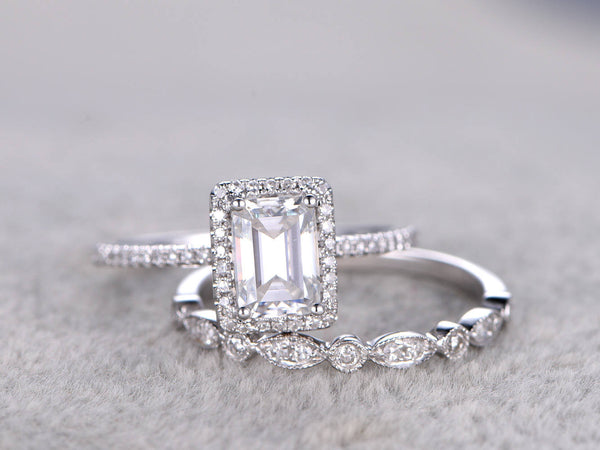 2 Moissanite Bridal Set,5x7mm Emerald Cut Moissanite Engagement ring White gold,Diamond wedding Matching band,14k,Promise Ring,Art deco band
