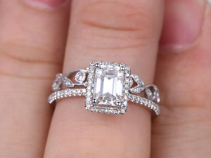 5x7mm Emerald Cut Moissanite Bridal set,Engagement ring,White gold,Diamond wedding band,14k,Art Deco,Vintage Floral,Full Eternity,milgrain
