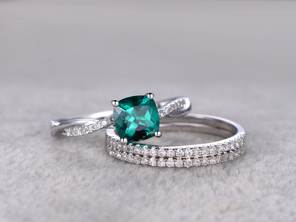 3pcs Emerald Engagement ring Set!14k white gold,Diamond wedding band,6mm Cushion Cut,Bridal Ring,Twist band,Eternity band,Lab-created Stone