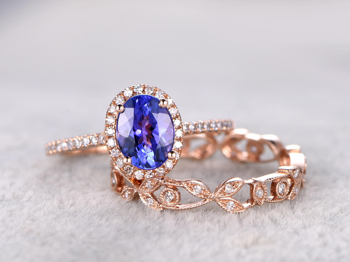 6x8mm Oval Tanzanite Wedding ring set,Engagement ring Rose gold,Vintage Floral Wedding band,14K,Halo Bridal Ring,Blue Gemstone ring,Milgrain