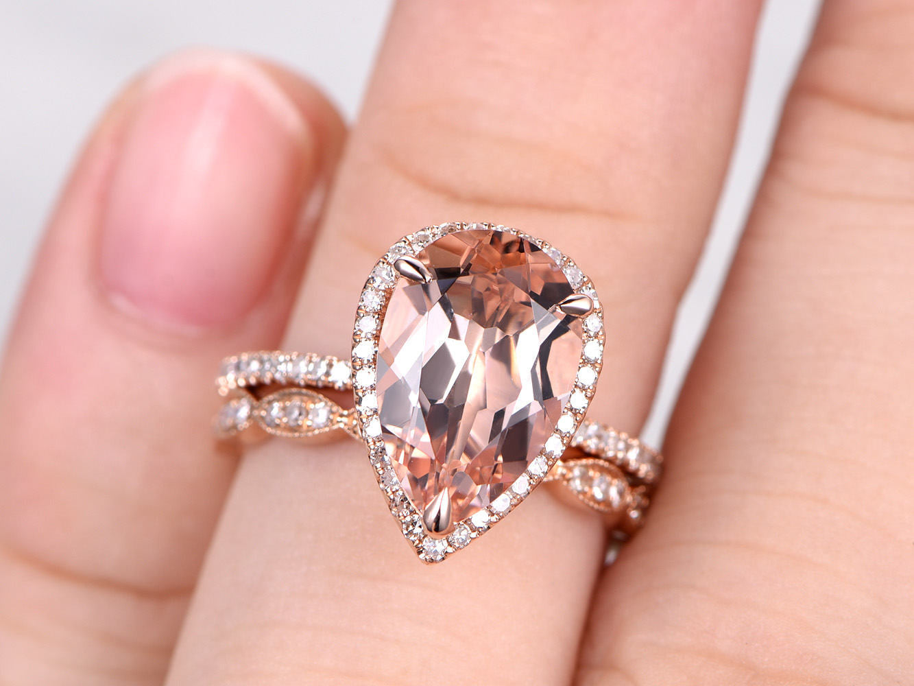 2pcs Bridal Ring Set,Morganite Engagement ring Rose gold,Diamond wedding band,14k,8x12mm Pear Cut,Promise Ring,Art Deco,Full eternity ring