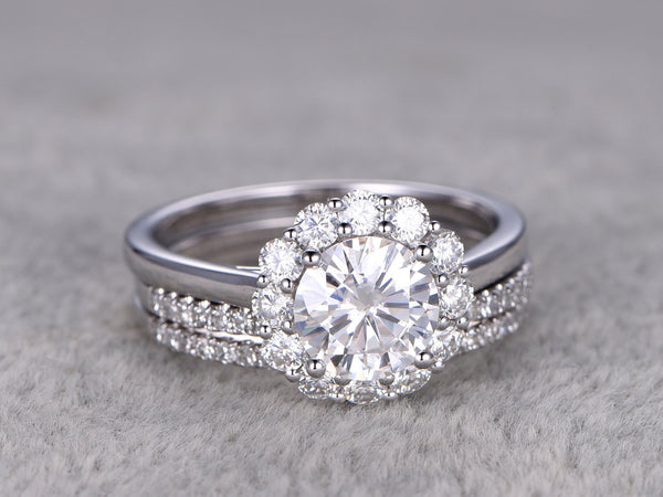 3 Moissanite Bridal Set,Vintage Floral diamond ring,Diamond wedding Matching band,14k,7mm Round Cut,Gemstone Promise Ring,Pave,Half eternity
