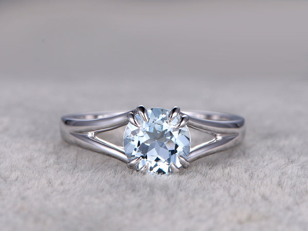 Round 7mm Aquamarine Engagement ring,Split shank,14K White Gold,Blue Gemstone Promise Ring,Bridal Ring,8 Claws,Aquamarine Solitaire ring