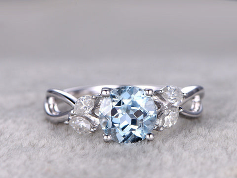7mm Round Aquamarine Engagement ring,Marquise diamond leaf style,Art Deco,Criss Cross Ring,14K White Gold,Blue Gemstone Promise Ring