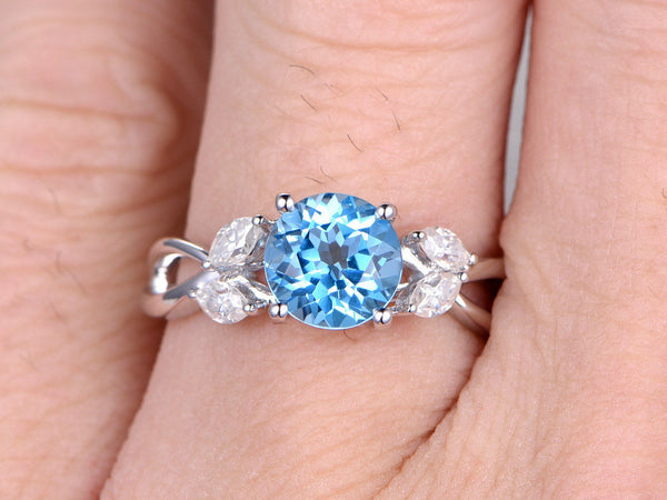 Sky Blue Topaz Engagement ring,Floral design,Marquise cut diamonds,Split shank,14K White Gold,Gemstone Promise Ring,Bridal Ring,7mm Round