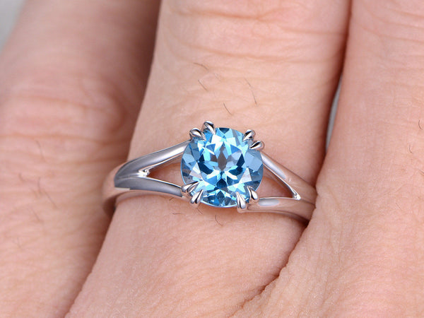7mm Round Topaz Engagement ring,Split shank,14K White Gold,Blue Gemstone Promise Ring,Bridal Ring,8 Claws,Solitaire ring,plain gold band