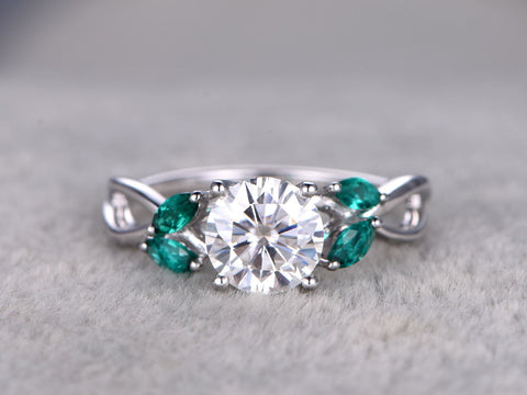 Moissanite Engagement ring,3.5x2mm Marquise cut Emerald,14k White Gold,7mm Round Cut,Art Deco,Floral Design,leaf ring