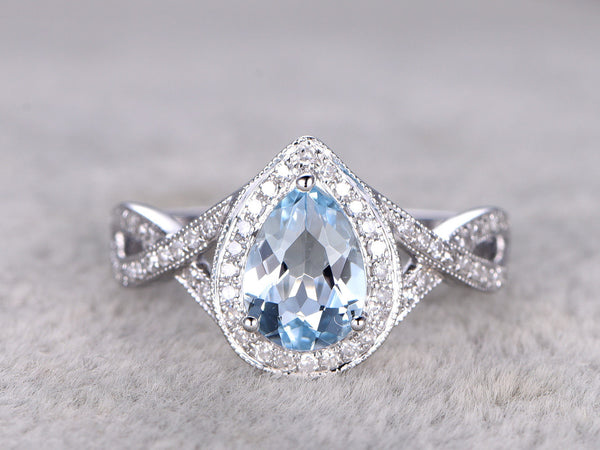 Natural Blue Aquamarine Ring,Infinity Engagement ring,Criss Cross Ring,Diamond wedding band,14k,6x8mm Pear Cut,Blue Gemstone,White Gold