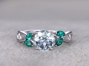 7mm Round Aquamarine Engagement ring,Marquise Emerald leaf style,Art Deco,Criss Cross Ring,14K White Gold,Blue Gemstone Promise Ring