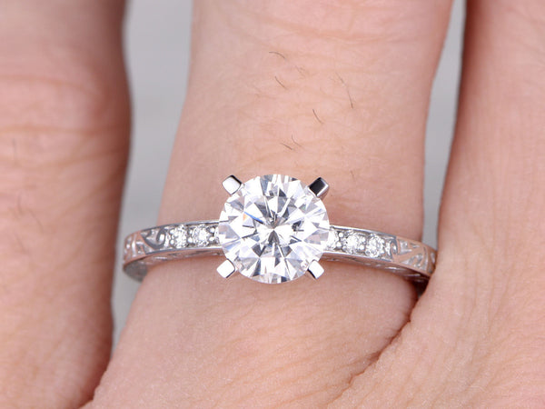 brilliant Moissanite Engagement ring,Diamond wedding band,Filigree Floral style,14k White Gold,7mm Round Cut,Gemstone Promise Bridal Ring