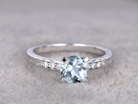 Natural Aquamarine Ring,Diamond Engagement ring,Bridal,Filigree Floral style,7mm round,14k white gold,Blue Gemstone Promise Ring,Solitaire