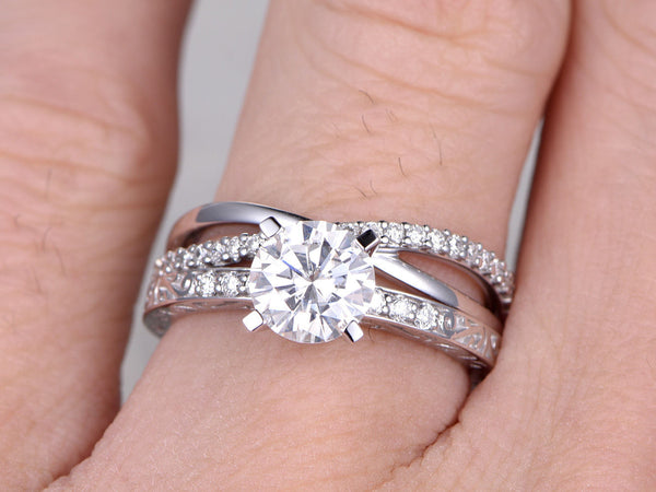 2 Moissanite Bridal Set,Solitaire Engagement ring,Criss Cross Wedding Band,Diamond,Filgree Floral style,14k,White Gold,7mm Round Cut