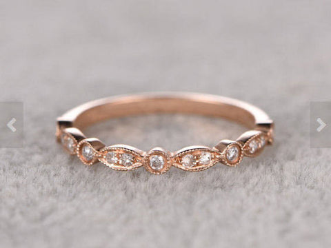 Payment plan for special customer:Natural Diamonds,Half Eternity Wedding Ring,Art deco Marquise style,milgrain,5 3/8 US 14K yellow gold.
