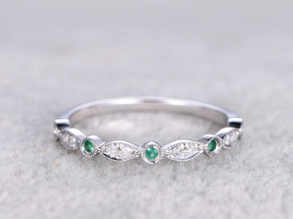 Natural Diamonds and Emerald,Half Eternity Wedding band,14K White gold,Anniversary Ring,Art deco Marquise style,stacking,milgrain.Retro