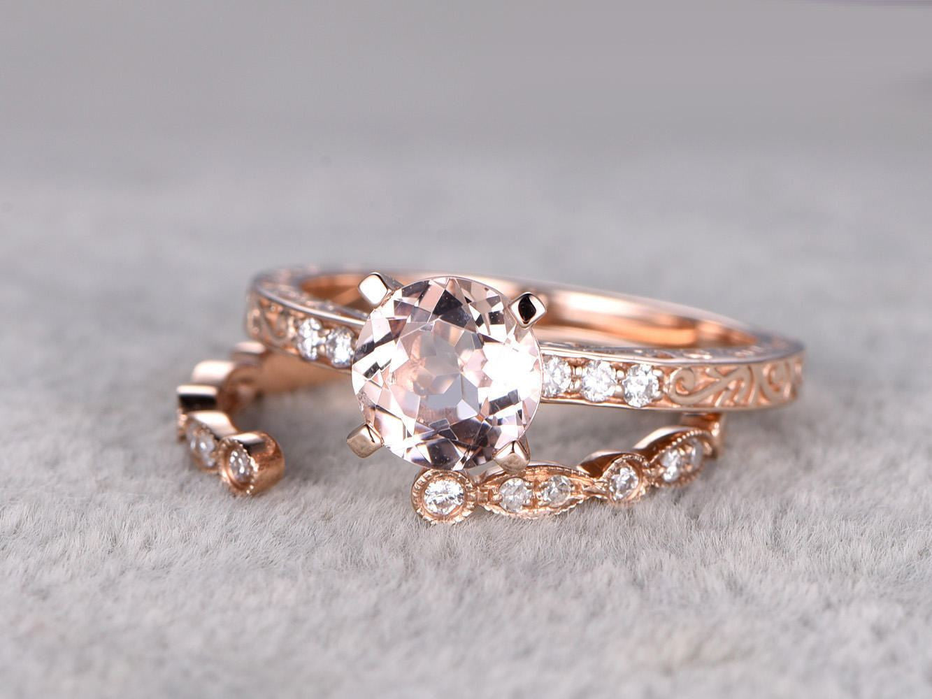 2pcs Morganite Bridal Ring Set,Engagement ring Rose gold,Diamond wedding band,Filigree,Floral design,Unique band,14k,7mm Round,Promise Ring