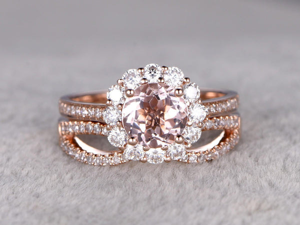 2pcs Morganite Bridal Ring Set,Engagement ring Rose gold,Moissanite Halo,Infinity Diamond wedding band,14k,7mm Round Cut,Floral Promise Ring