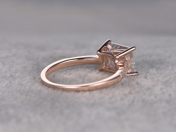 East to West Moissanite Engagement ring Rose gold,Diamond wedding band,Horizontal ring,6x8mm Emerald Cut,14K,Bridal Ring,Anniversary,Unique