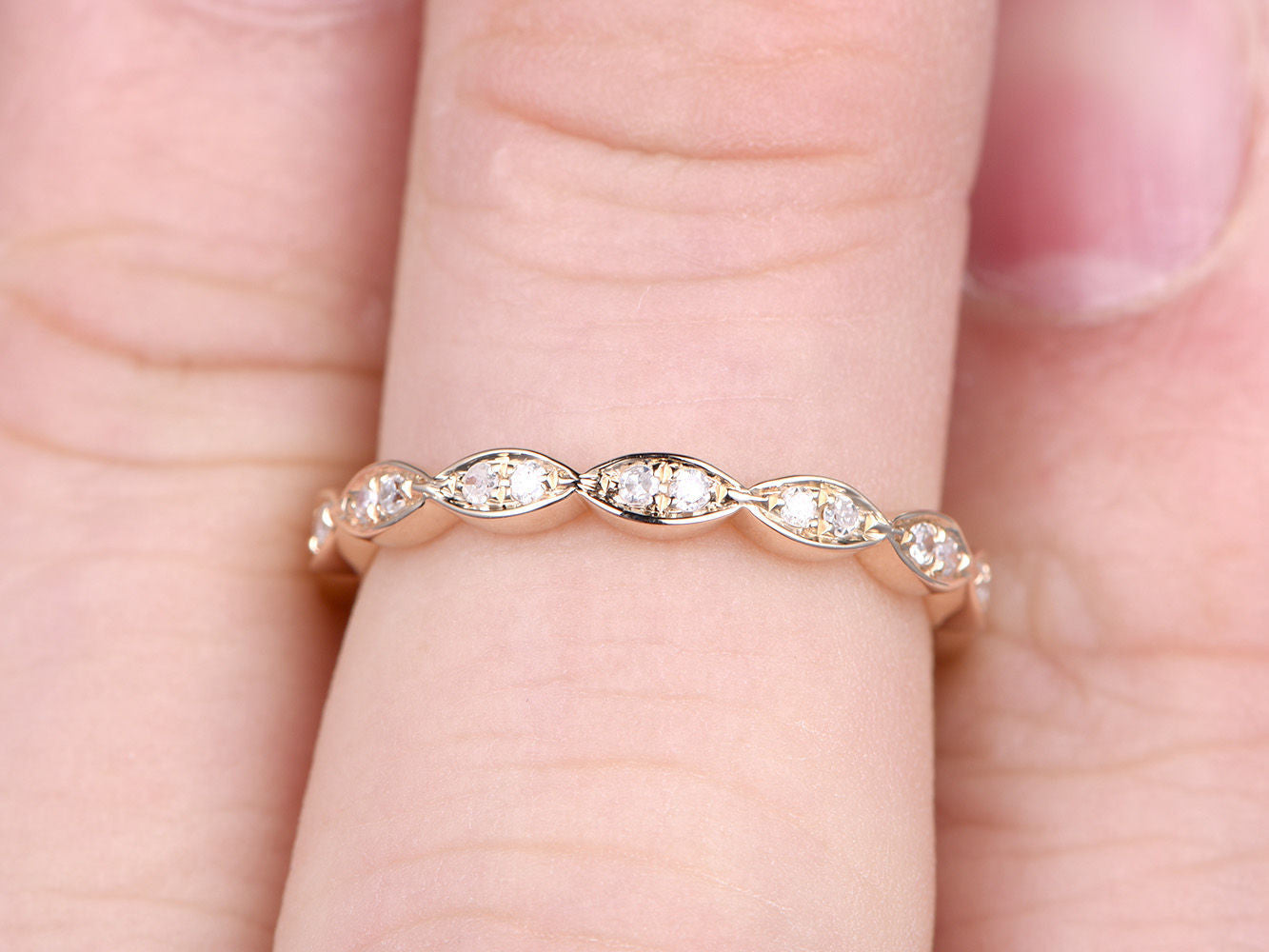 Natural Diamonds,Full Eternity Wedding Ring,Solid 14K Yellow gold,Anniversary Ring,Art deco Marquise style,stacking ring,Matching band