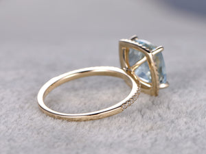 3.01ctw Aquamarine Engagement ring,Diamond wedding band,Halo,14K Yellow Gold,Gemstone Promise Ring,Bridal Ring,IF Blue Aquamarine,Pave Set