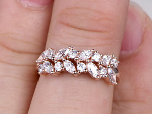 CZ Engagement ring,Marquise Cut Cubic Zirconia,Leaves style,14K Rose Gold ,Promise Ring,Bridal Ring,Forest Ring,Unique design,anniversary