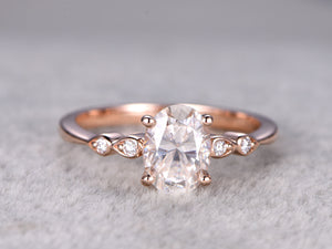brilliant Moissanite Engagement ring Rose gold,14k,6x8mm Oval Cut,Gemstone Promise Bridal Ring,Anniversary,Art Deco,Marquise shape band