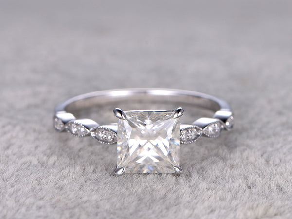 6.5mm Princess Cut brilliant Moissanite Engagement ring,14k White gold,Gemstone Promise Bridal Ring,Anniversary,Art Deco style,marquise band