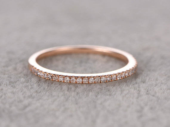 Custom order for special customer:8mm cushion cut moissanite solitaire ring,4 claws,half eternity diamond wedding band,size 8,14k rose gold