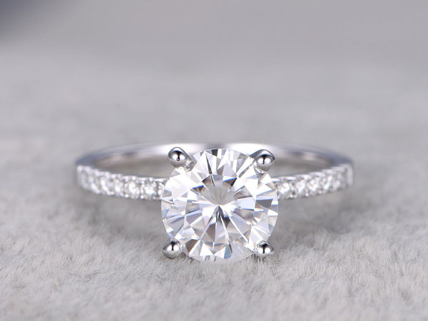 Forever brilliant Moissanite Engagement ring White gold,Moissanite wedding band,14k,7.5mm Round Cut,1.5 carat weight