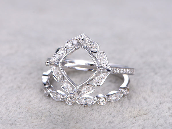 Customized semi mount set:Retro Vintage Floral Ring Setting,14k white gold,Art Deco wedding band,to accommodate a 8mm cushion cut stone