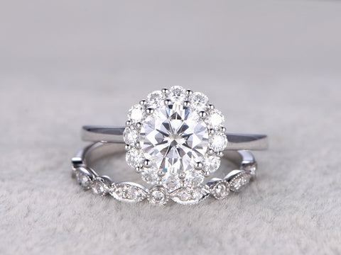 2 Moissanite Bridal Set,Vintage Floral Engagement ring,Mossanite Halo,Art Deco,Diamond Wedding band,14k,7mm Round Cut,Plain white gold