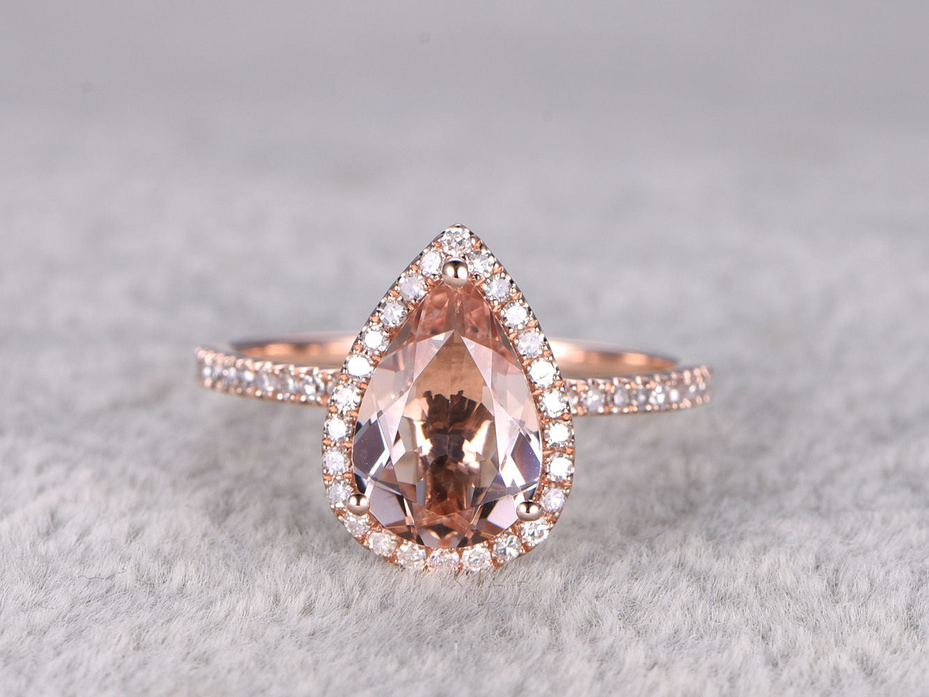 7x10mm Pear Cut Morganite Engagement ring Rose gold,Diamond wedding band,14k,Pear Shaped,Gemstone Promise Bridal Ring,Halo,Prongs,Pave Set