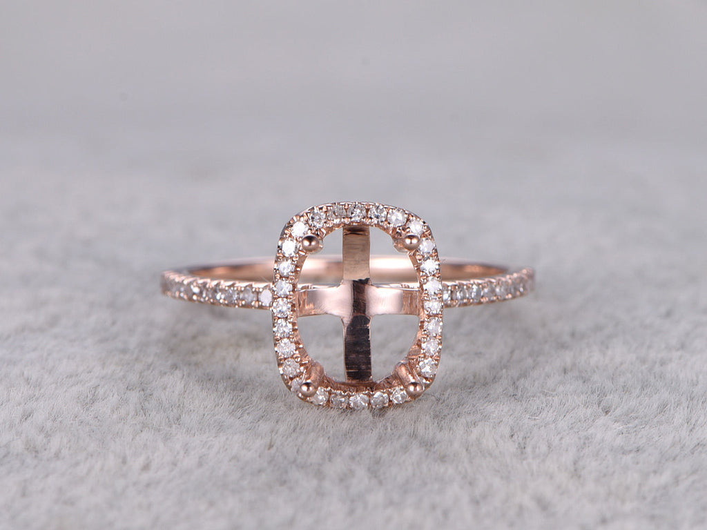 Customized semi mount,Rose gold ring setting,14k,Halo,to accommodate a oval stone 7x9mm,ball prongs