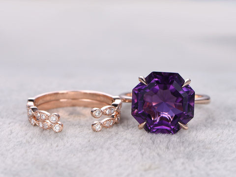 3pcs Octagon Purple Amethyst Engagement ring set,Diamond wedding band,Unique design,14K Rose Gold,Promise Ring,Bridal Ring,Matching band