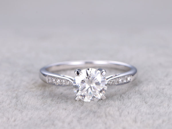 Brilliant Moissanite Engagement ring White gold,Diamond wedding band,14k,6.5mm Round Cut,Gemstone Promise Ring,Charles & Colvard,4-Prongs
