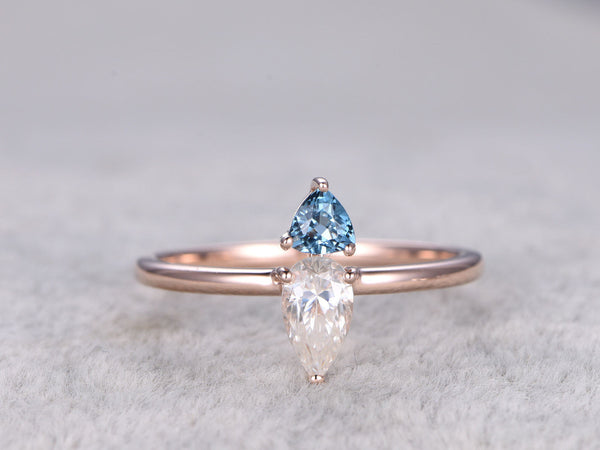 Moissanite Engagement ring Rose gold,0.5ct Pear Cut,Trillion London Blue Topaz,Two Stone Ring,14k,Gemstone Promise Bridal Ring,Anniversary