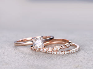 3pcs Moissanite Bridal Ring Set,Engagement ring Plain Rose gold,Moissanite wedding band,14k,5mm Princess Cut,Gemstone Promise Ring,Art Deco