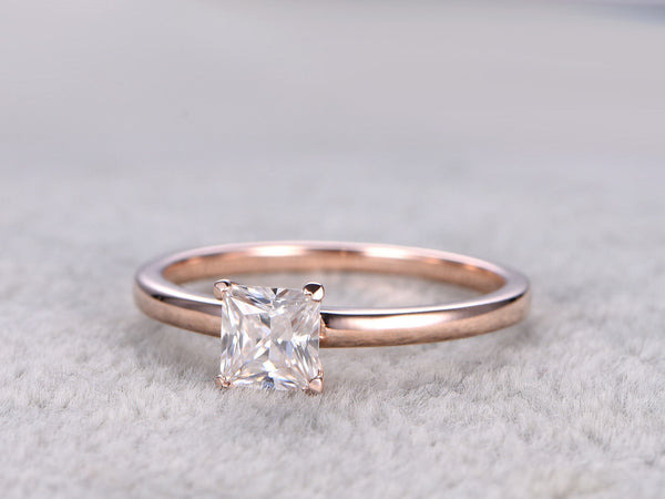 brilliant Moissanite Engagement ring Rose gold,0.5ct Solitaire Ring,14K,5mm Princess Cut,Plain gold band,Gemstone Promise Bridal Ring