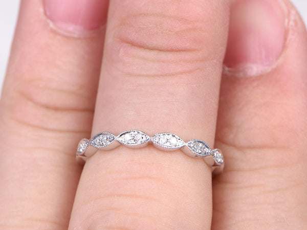 Natural Diamonds,Full Eternity Wedding Ring,Solid 14K White gold,Anniversary Ring,Art deco Marquise style,Milgrain,stacking,Matching band
