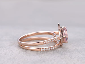 2pcs Morganite Bridal Ring Set,Engagement ring Rose gold,Diamond wedding band,14k,7mm Cushion Cut,Promise Ring,Retro Vintage Floral Halo