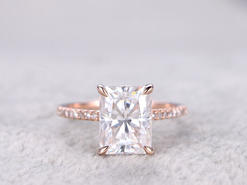 7x9mm Radiant Cut brilliant Moissanite Engagement ring Rose gold,Diamond wedding band,Gemstone Promise Bridal Ring,Claws,Anniversary,14K