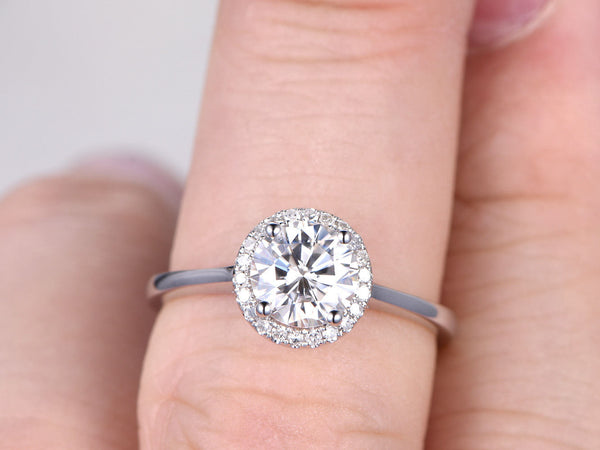 1ct brilliant Moissanite Engagement ring,white gold,14K,Plain gold band,Halo,6.5mm Round Stone,Bridal ring,Promise Ring,Ball prongs,Gemstone