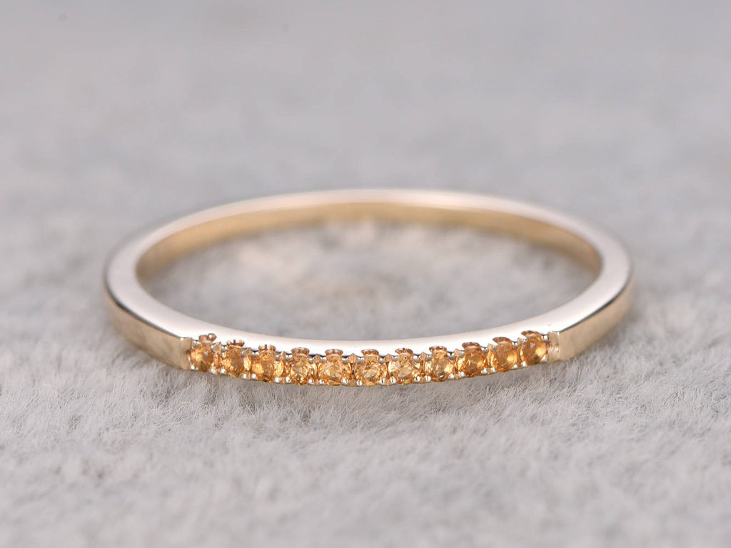 Yellow Citrine Wedding Ring,Solid 14K Yellow gold,Pave Set,Anniversary Ring,Eternity Band,stackable ring,Matching band,November BirthStone