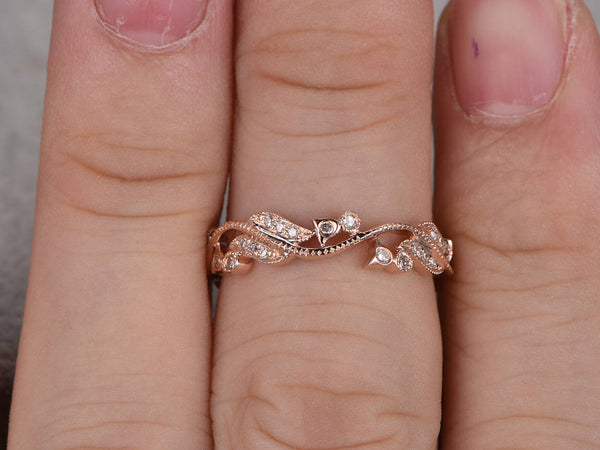 Natural Diamonds,Full Eternity Wedding Ring,Art Nouveau,14K Rose gold,Anniversary Ring,Art Deco,Vintage Floral,stackable,milgrain,Stacking