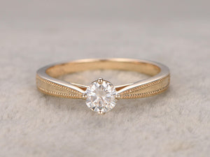 Brilliant Charles & Colvard Moissanite Engagement ring,Yellow gold,Solitaire,Filigree wedding band,14k,Round Cut,Gemstone Promise Men's Ring